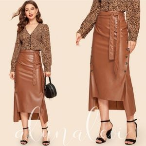 🆕 IN STOCK! Cognac Vegan Leather Midi Skirt